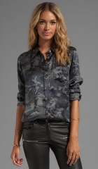 Equipment Underground Camo Printed Brett Blouse in Traditional Camo at Revolve