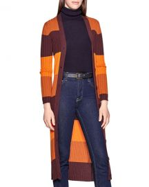 Equipment Verelle Block-Stripe Button-Front Wool Cardigan at Neiman Marcus