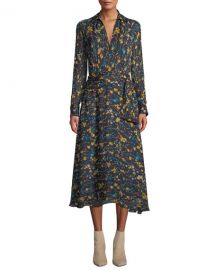 Equipment Vivienne V-Neck Long-Sleeve Floral-Printed A-line Dress at Neiman Marcus