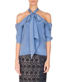 Erdem Elin Silk Cold-Shoulder Top  Blue at Neiman Marcus