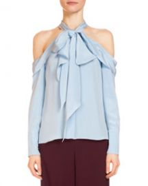 Erdem Aila Silk Cold-Shoulder Top  Light Blue at Bergdorf Goodman