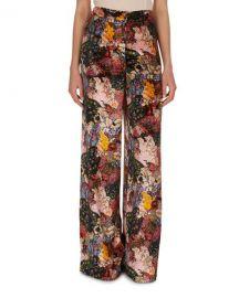 Erdem Birte Floral-Print Velvet Pajama Pants   Neiman Marcus at Neiman Marcus