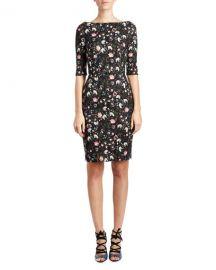 Erdem Floral V-Back Sheath Dress at Neiman Marcus