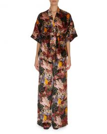 Erdem Zeta Floral-Print Velvet Kimono Jacket and Matching Items at Neiman Marcus