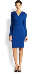 Escada - Dayna Jersey Faux-Wrap Dress in Blue at Saks Fifth Avenue