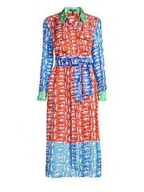 Escada - Dsehra Colorblock Silk Printed Shirtdress at Saks Fifth Avenue