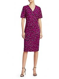 Escada - Leopard-Print Jersey Faux Wrap Dress at Saks Off 5th
