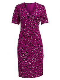 Escada - Leopard-Print Jersey Faux Wrap Dress at Saks Fifth Avenue