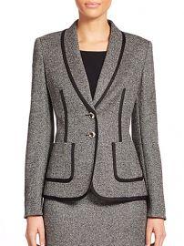 Escada - Piped Tweed Jacket at Saks Fifth Avenue