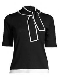 Escada - Tie-Neck Short Sleeve Sweater at Saks Fifth Avenue