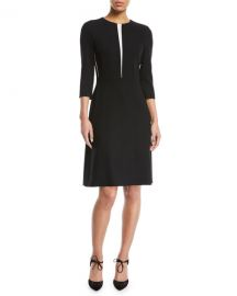 Escada 3 4-Sleeve Fit-and-Flare Wool-Blend Dress w  Insets at Neiman Marcus
