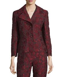 Escada 3 4-Sleeve Two-Button Jacquard Jacket  Marsala at Neiman Marcus
