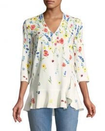 Escada 3 4-Sleeve V-Neck Floral-Print Top at Neiman Marcus