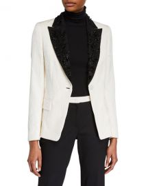 Escada Beaded Floral-Jacquard Lapel Blazer Jacket at Neiman Marcus