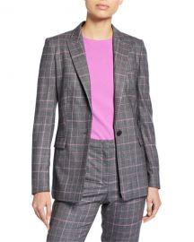 Escada Begas Glen-Plaid Wool Jacket at Neiman Marcus