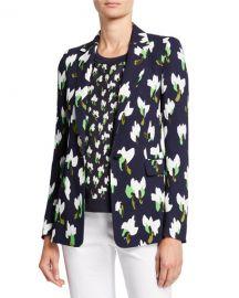 Escada Brikenan One-Button Abstract Floral-Print Jersey Blazer at Neiman Marcus