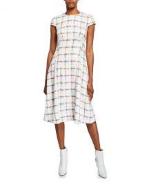Escada Cap-Sleeve Windowpane Tweed Dress at Neiman Marcus