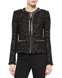 Escada Dondi Zip-Chain Jacket Black at Neiman Marcus