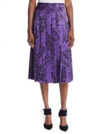 Escada Feather-Print Pleated Silk Satin Midi Skirt at Neiman Marcus