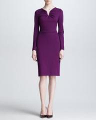 Escada Long-Sleeve Donde Jersey Dress Amethyst at Neiman Marcus