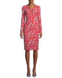Escada Long-Sleeve Floral-Print Jersey Dress at Neiman Marcus