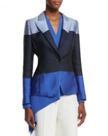 Escada One-Button Colorblock Jacket Heather Blue at Neiman Marcus
