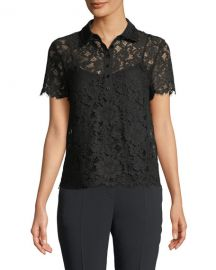 Escada Short-Sleeve Lace Polo Top w  Camisole at Neiman Marcus