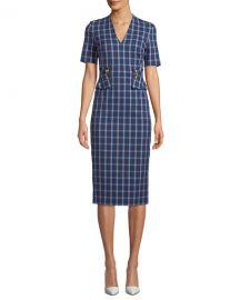 Escada V-Neck Short-Sleeve Windowpane Sheath Dress at Neiman Marcus