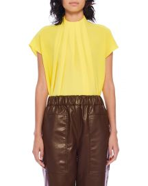Esme Crepe Shirred High-Neck Top at Neiman Marcus