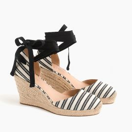 Espadrille Wedges (83mm) with Ankle Wrap in Stripe at J. Crew