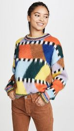 Essentiel Antwerp Tahini Intarsia Fluffy Sweater at Shopbop