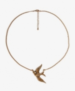Etched bird charm necklace at Forever 21 at Forever 21