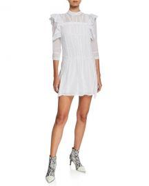 Etoile Isabel Marant Alba Embroidered Ruffle 3 4-Sleeve Short Dress at Neiman Marcus
