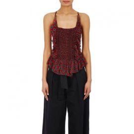 Etoile Isabel Marant Dotted Silk Ruched Top at Barneys