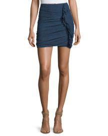 Etoile Isabel Marant Jipson High-Waist Ruched Printed Mini Skirt at Neiman Marcus