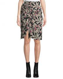 Etoile Isabel Marant Loela Gathered Floral Crepe Skirt at Neiman Marcus