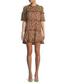Etoile Isabel Marant Maiwenn Ochre Floral-Print Tiered Mini Dress at Neiman Marcus