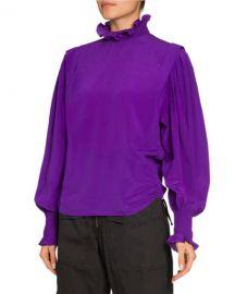 Etoile Isabel Marant Yoshi High-Neck Silk Blouse at Neiman Marcus