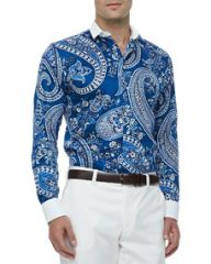 Etro Bankers Collar Paisley-Print Sport Shirt Blue at Neiman Marcus