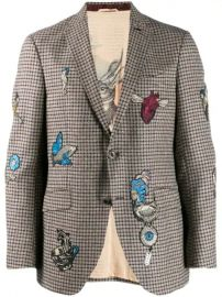 Etro Check Jacket With Embroidery - Farfetch at Farfetch