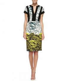 Etro Deep Floral Sheath Dress W Bordered Bodice at Neiman Marcus