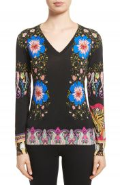 Etro Floral Paisley Stretch Silk Sweater at Nordstrom