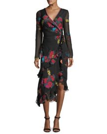 Etro Floral-Print Silk Faux-Wrap Midi Cocktail Dress at Neiman Marcus