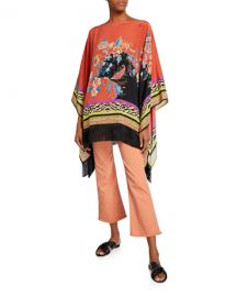 Etro Fringed Floral Fern Collage Poncho at Neiman Marcus