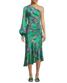 Etro One-Sleeve Shirred Floral-Print Hammered Silk Midi Dress at Neiman Marcus