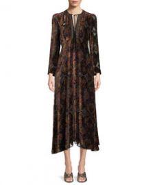 Etro Paisley-Print Velvet A-Line Granny Dress w  Cravat Trim at Bergdorf Goodman