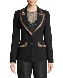 Etro Single-Breasted Wool-Crepe Blazer w  Embroidered Ribbon Trim at Neiman Marcus