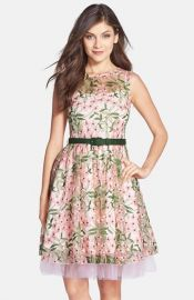 Eva by Eva Franco and39Reneeand39 Belted Floral Embroidered Fit andamp Flare Dress at Nordstrom