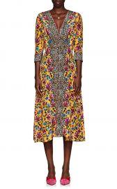 Eve Leopard-Floral V-Neck Midi-Dress at Barneys
