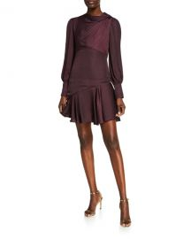 Ever New Long-Sleeve Mini Satin Drape Dress at Neiman Marcus